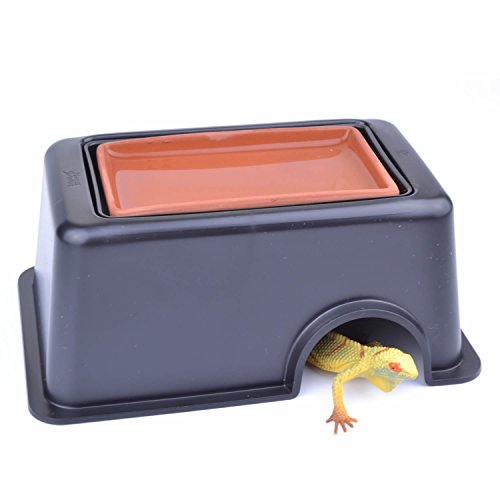 pranovo Reptile Hide Cave Box Humidifier Caves Water Supply Hideout with Sink Basin for Small Reptile Lizard Spider Snake Turtle Amphibian