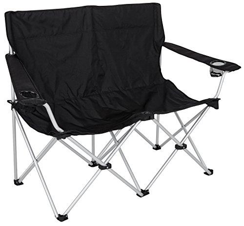 Faltbare Campingbank optimal für zwei Personen schwarz / Alu onesize