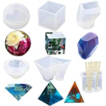 Resin Casting Molds, 6 Pack Large Clear Silicone Epoxy Resin Molds Includes Sphere/Cube/Diamond/Pyramid/Triangular Pyramid/Stone Shapes for DIY Jewelry Craft Making, with Mixing Cups and Sticks