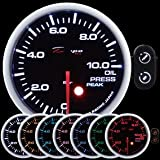 60mm Depo Racing 7 Color red green blue Warning Oil Pressure Gauge guage