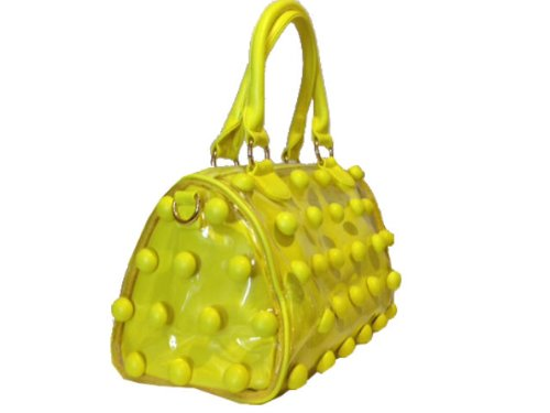 2 Bags in One , Clear with Yellow Emboss Polka Dots and Yellow Bag in Side