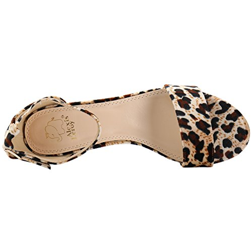 Alexis Leroy Sandalias con decoración leopardo de tacón para Mujer Marrón
