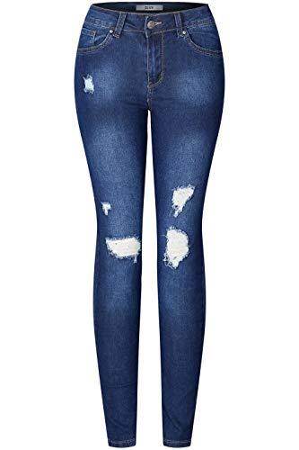 2LUV Women's Stretchy 5 Pocket Skinny Distressed Medium Denim Jeans, Size_9, Dark Denim9