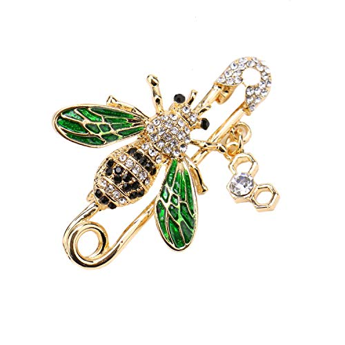 (JETEHO Rhinestone Bee Brooch pins, Enamel Crystal Insect Pin Lapel Pin Large Safety Pin for Women)