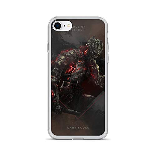 iPhone 7/8 Case Anti-Scratch Gamer Video Game Transparent Cases Cover Square Soul of Cinder Dark Souls Gaming Computer Crystal Clear