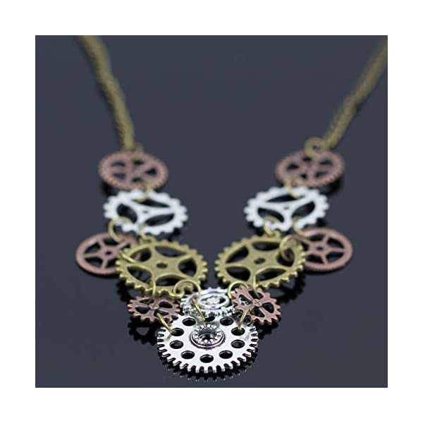 Halloween Steampunk Accessories Clock Gear Statement Necklace Vintage Costume Jewelry Mixed Metal 5