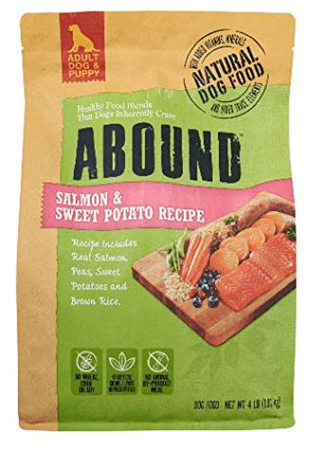 Abound Grain Free Natural Adult Dog & Puppy Dry Food, Salmon & Sweet Potato Recipe, 4 lbs