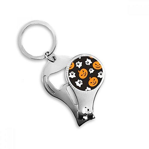 Pumpkin Halloween Hallowmas Ghost Nail Clipper Key Chain Ring Cutter Tool Bottle -