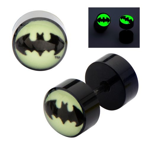 DC Comics Earrings Ring Fake Cheater Plug Taper Glow 18g Ear pair Batman Bat man (Batman Ear Ring)