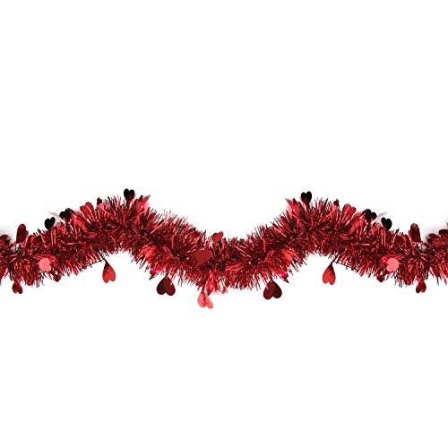 9' Pre-Lit Valentine's Day Heart Tinsel Garland with Red Lights