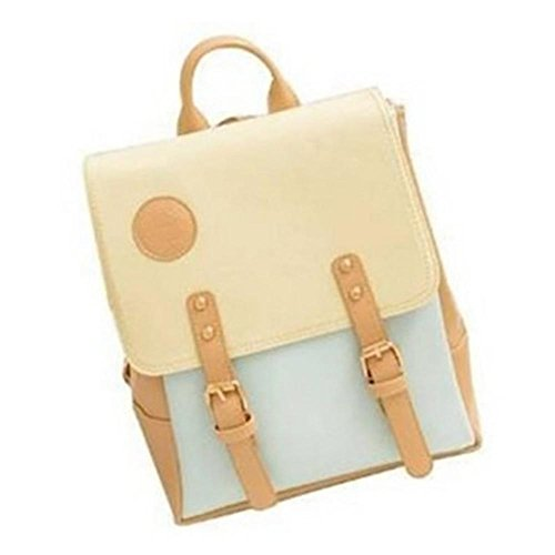 YOPO New Retro Vintage Casual Women's Backpack School Bag Fashion Travel School PU Leather Handbag ipad bag, four colors avaliable (Blue)