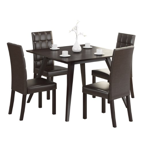 CorLiving DRG-895-Z Atwood 5-Piece Dining Set with Dark Brown Leatherette Seats