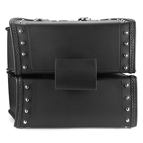 Nomad USA Leather Slanted Motorcycle Saddlebags w/Quick Release Buckles (Braided & Studded) by Nomad USA (Image #5)