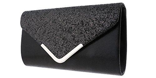 Hotstylezone Womens Glitter Shimmer Clutch Bag Ladies Wedding Party Prom Glamour Wedding Evening Black