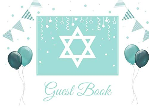 Guest Book: Mint Bar Mitzvah Guest Book with Judaica Star of David design, for any Jewish event: Jewish Wedding, Bat Mitzvah, Birthday, Holiday or Family Party, 8.25x6 inch Soft back Guestbook