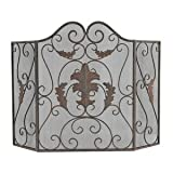 Sterling Industries 51-10161 44″ Firescreen, Antique Cream/Navy Finish Review