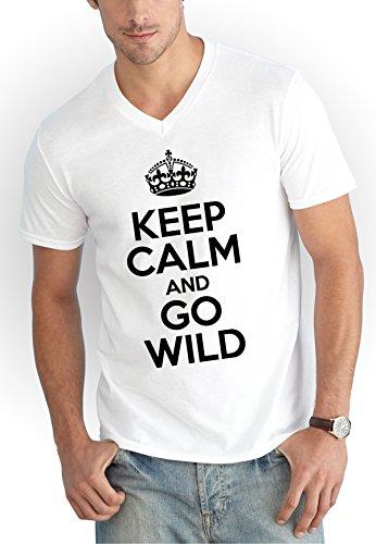 Keep Calm And Go Wild V-Neck T-Shirt White