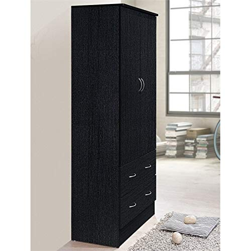 Pemberly Row 32'' Wide 2 Door Wardrobe Armoire Closet with 2 Drawers in Black by Pemberly Row (Image #3)