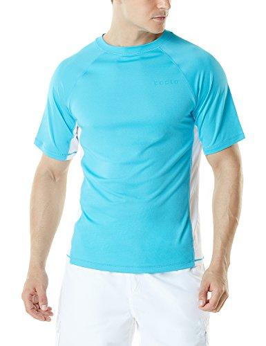 (TSLA Men's UPF 50+Swim Shirt Loose-Fit Swim Tee Rashguard Top,Active Sun Block(mss01) - Sky Blue & White,)