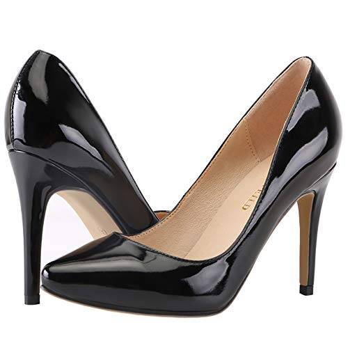 Black Heels for Women, Classic Pointed Toe High Heel Office Basic Slip On Stiletto Dress Pump Shoes(952-1,Black42)