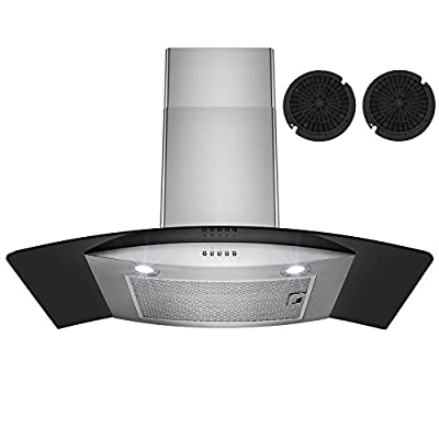 "Firebird 30"" European Style Wall Mount Stainless Steel Ductless Range Hood Vent W/ Touch Panel Control Free Carbon Filters"