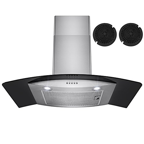 Firebird 30″ European Style Wall Mount Stainless Steel Ductless Range Hood Vent W/ Touch Panel Control Free Carbon Filters