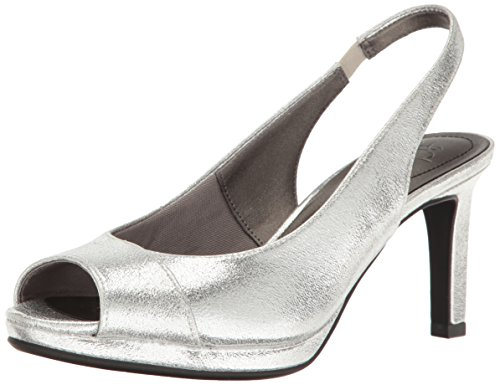 (LifeStride Women's Invest Dress Sandal, Silver, 8 M US)