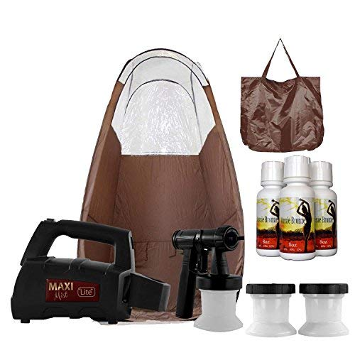 Maxi-Mist Lite Plus HVLP Sunless Spray Tanning KIT Tent Machine Airbrush Tan Maximist BRWN ()