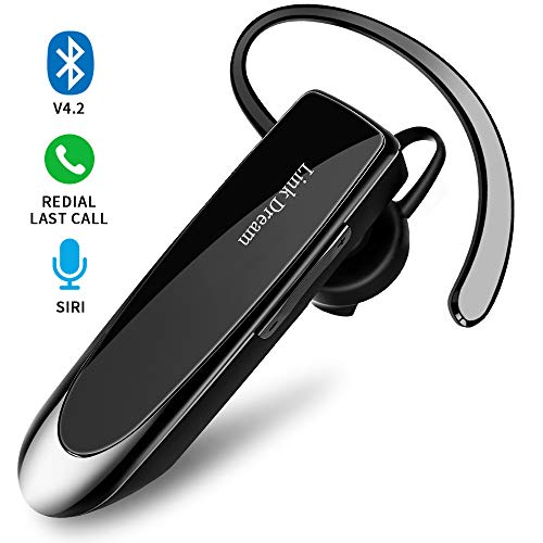Bluetooth Earpiece Link Dream Wireless Headset with Mic 24Hrs Talktime Hands-Free in-Ear Headphone Compatible with iPhone Samsung Android Smart Phones, Driver Trucker (Black) from Link Dream