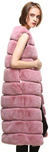 Long Vests Women' Fur Faux Pink vogueearth Warm Autumn Winter Gilets Classic 07nnTxw8