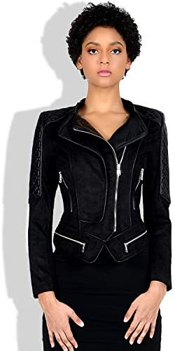 GWDYE Abrigo de Piel sintética de Gamuza para Mujer, Chaqueta de Abrigo Corto Moto Biker, Chaqueta de Vuelo con Cremallera, Cuero, Cuello Vuelto, Abrigo cálido de otoño, Negro