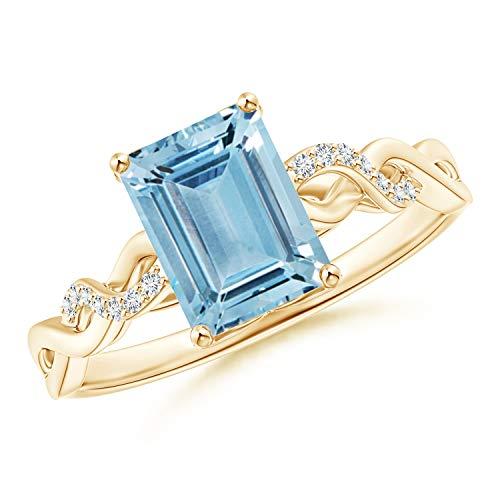 (Emerald-Cut Solitaire Aquamarine Infinity Twist Ring in 14K Yellow Gold (8x6mm Aquamarine))