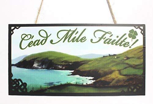 "Cheyan Irish Welcome Sign/Plaque CÉAd MÍLe FÁIlte 10"" x 5"" Wood Sign Door Sign"