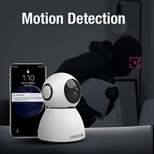 Security Camera CRESTIN IP Camera 1080P HD, Baby Monitor, WiFi Home Indoor Camera for Baby/Pet/Nanny, Motion Detection, 2 Way Audio Night Vision, Works with Alexa