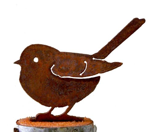 Chickadees Yard Design - Elegant Garden Design Baby Fat Chickadee, Steel Silhouette with Rusty Patina