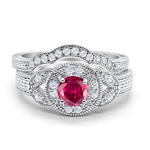 Blue Apple Co. Two Piece Wedding Engagement Art Deco Bridal Set Simulated Ruby Round Cubic Zirconia 925 Sterling Silver, Size-8