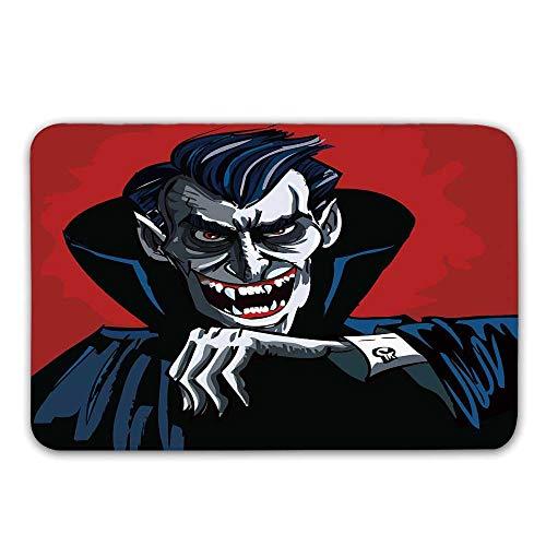 Vampire Non Slip Door Mat,Cartoon Cruel Old Man with Cape Sharp Teeth Evil Creepy Smile Halloween Theme Doormat for Front Door Indoor,23.6