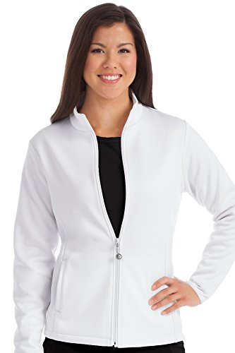 Med Couture Zip Front Performance Fleece Scrub Jacket for Women, White, XX-Large - Front Tie Wool Jacket