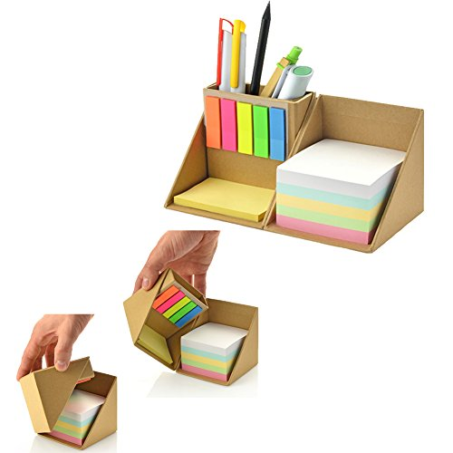 Echolife Memo Holder/Sticky Notes/Page Marker Colored Index Tabs Flags Kraft Cube Holder Box Pen/Pencil Cup Holder Desk Organizer (Brown) by Echolife