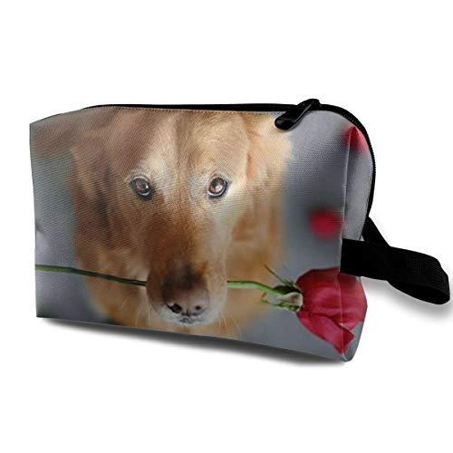 With Wristlet Cosmetic Bags Rose Dog Travel Portable Makeup Bag Zipper Wallet Hangbag]()