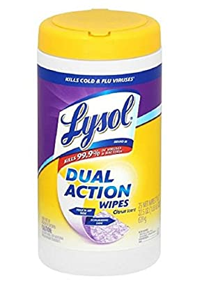 Lysol Dual Action Disinfecting Wipes, Citrus 75 ea,6 pk