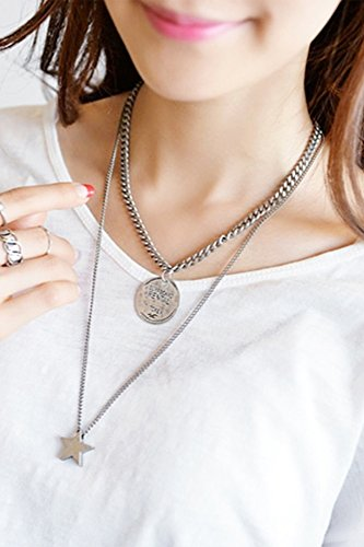 Price comparison product image Generic European wild_Korean_ necklace pendant retro _round_coin_five-point_star_ sweater chain _double_ sweater chain necklace pendant _women's_accessories.