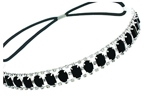 Elastic Headband with Oval and Rectangle Gems and Sparkling Crystal Accents | Onyx/Black