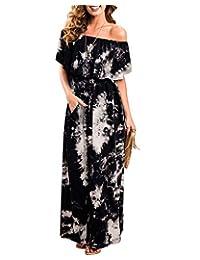 LANISEN Women Off The Shoulder Ruffle Party Dresses Tie Dye Split Maxi Casual Dress