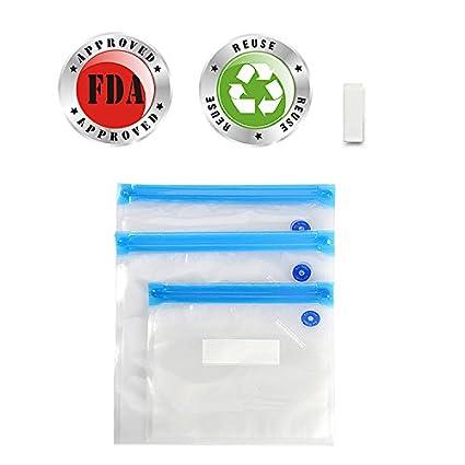 yunhigh 10pcs sellador al vacío bolsas reutilizables FoodSaver cremallera bolsas viaje de plástico al vacío bolsas de almacenamiento contenedor para ...