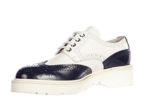 nuove bianco pelle derby Prada in scarpe Bianco donna classiche bicolor stringate XSwq0qRYz