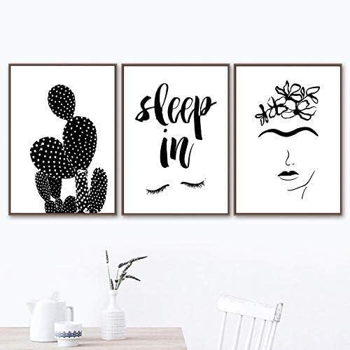 女の子サボテン睡眠壁アートプリントキャンバス絵画ポスター壁写真リビングルームの装飾-40×50センチ×3ピースフレームなし