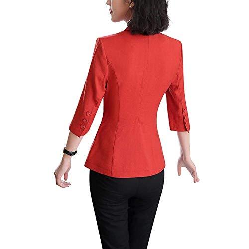 Ragazzi Solidi Con Fashion 4 3 Casual Autunno Tailleur Tasche Moda Donna Primaverile Bavero Da Slim Giacca Classiche Cappotto Alla Manica Fit Rot Colori Blazer Fq4BxHS