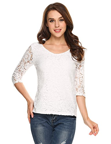 White 3/4 Sleeve Top - 3