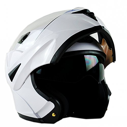 (ILM 10 Colors Motorcycle Flip up Modular Helmet DOT (M, White))